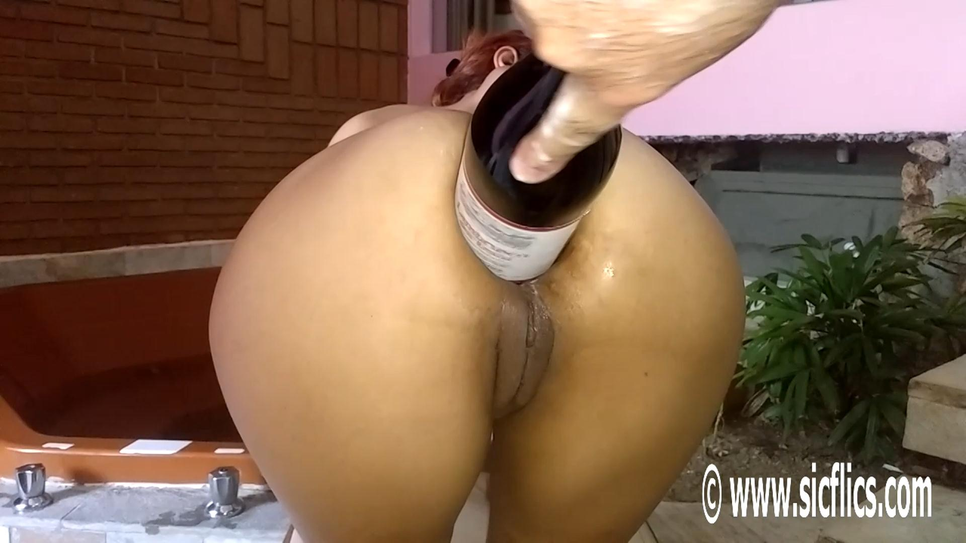 female ass fucked with champagne bottle porn